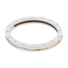 Bulgari Stainless Steel & 750 Yellow Gold B.zero1 Bangle Bracelet