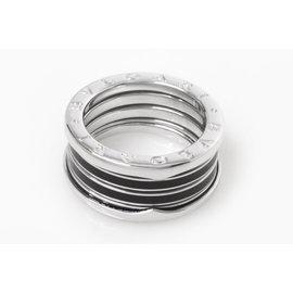 Bulgari 750 White Gold & Ceramic B.zero1 Ring Size 9