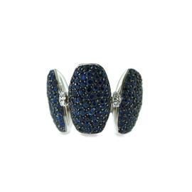 De Grisogono 18K White Gold Sapphire & Diamonds Adjustable Switch Ring Size 5