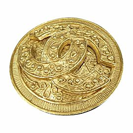 Chanel Coco Mark Gold-Tone Motif Pin Brooch