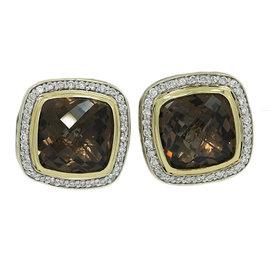 David Yurman 18K Yellow Gold and 925 Sterling Silver Smokey Quartz 0.66ct. Diamond Earrings