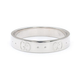 Gucci Icon 18K White Gold 750 Ring Size 8.5