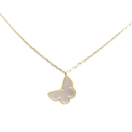 Van Cleef & Arpels 18k Yellow Gold Mother of Pearl Sweet Alhambra Papillon Necklace
