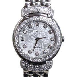 Rolex Cellini Cellissma 6673 18K White Gold Diamond Dial & Bezel 26mm Womens Watch 2006