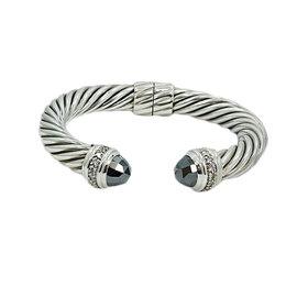 David Yurman 925 Sterling Silver Hematite Diamond Bangle Bracelet