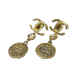 Chanel Coco Mark CC Logo Motif Gold-Tone Clip-On Earrings