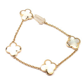 Van Cleef & Arpels Pure Alhambra 18K Yellow Gold Mother Of Pearl Bracelet
