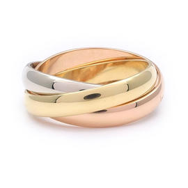 Cartier 18K Yellow White & Rose Gold 750 Trinity Ring Size 6