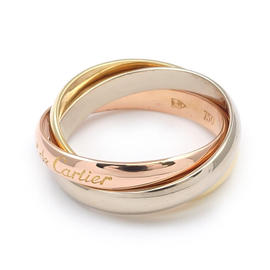 Cartier Trinity 18K Yellow White & Rose Gold 750 Ring Size 6