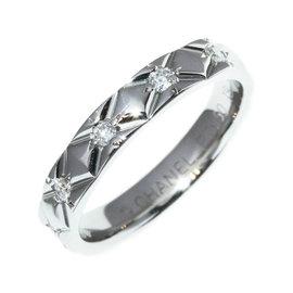 Chanel 950 Platinum Matelasse Diamond Ring Size 4.5