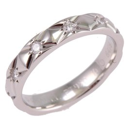 Chanel 950 Platinum Matelasse Diamond Ring Size 5