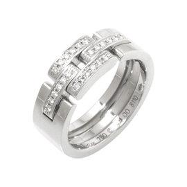 Cartier Maillon Panthère 18k White Gold Diamond Ring Size 4.5
