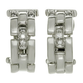 Cartier Maillon Panthere 18K White Gold & Diamond Earrings