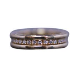 Bulgari 750 Yellow Gold B.Zero1 Full Diamond XS Ring Size 3.75