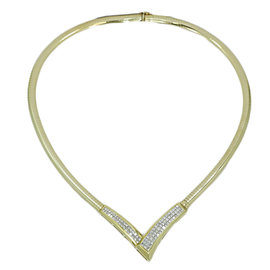 14K Yellow Gold & Diamond Omega V Shape Necklace