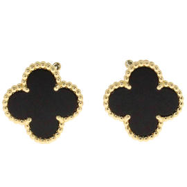 Van Cleef & Arpels 18K Yellow Gold Alhambra Onyx Earrings