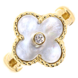 Van Cleef & Arpels Alhambra 18K Yellow Gold Diamond and Mother of Pearl Ring Size 6