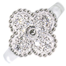 Van Cleef & Arpels 18K White Gold Diamond Alhambra Ring Size 6