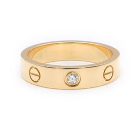 Cartier Mini Love 750 Yellow Gold & 1P Diamond Ring Size 5