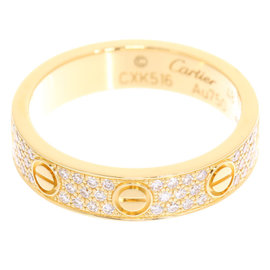 Cartier Mini Love 18K Yellow Gold Pave Diamond Ring Size 4.5