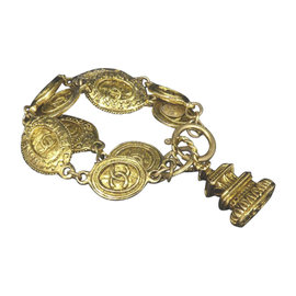 Chanel Coco Mark CC Logo Gold-Tone Double Chain Bracelet