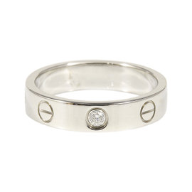 Cartier 18K White Gold Diamond Mini Love Ring Size 5