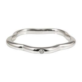 Chanel 18K White Gold Diamond Camellia Flower Ring Size 4.5