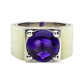 Van Cleef & Arpels 18K White Gold Amethyst Babylone Ring Size 5.5