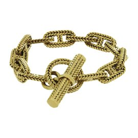 Hermes George 18K Yellow Gold L'enfant Chain D'ancre Bracelet