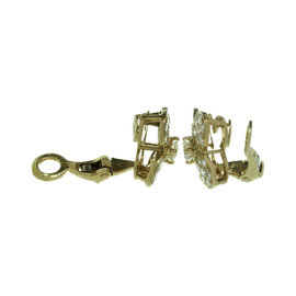 Van Cleef & Arples 18K Yellow Gold Trefle Diamond Earrings