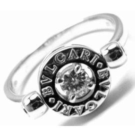 Bulgari Flip 18K White Gold with .20ct Diamond Ring Size 8