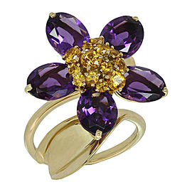 Van Cleef & Arpels 18K Yellow Gold Hawaii Amethyst Orange Sapphire Ring Size 7