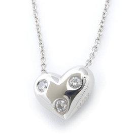 Tiffany & Co. 950 Platinum & 3P Diamond Dots Heart Necklace