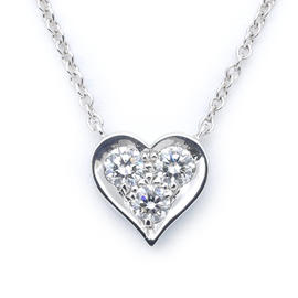 Tiffany & Co. 950 Platinum & 3P Diamond Sentimental Heart Necklace