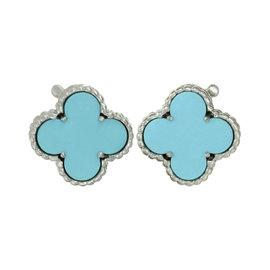 Van Cleef & Arples Alhambra 18K White Gold Turquoise Earrings