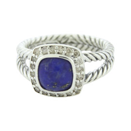 David Yurman Petite Albion 925 Sterling Silver with Lapis Lazuli & Diamond Ring Size 7