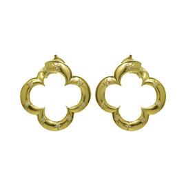 Van Cleef & Arples Alhambra 18K Yellow Gold 0.56ct. Diamond Earrings