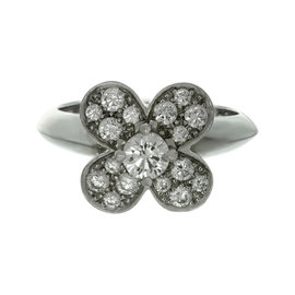 Van Cleef & Arpels 18K White Gold Trefle Diamond Ring Size 5.5