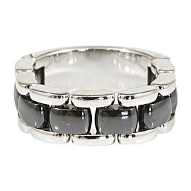 Chanel 18K White Gold Ceramic Band Ultra Ring Size 9.5