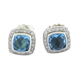 David Yurman Albion 925 Sterling Silver with Blue Topaz & Diamonds Earrings
