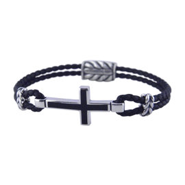 David Yurman Exotic 925 Sterling Silver with Leather and Black Onyx Bracelet
