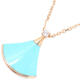Bulgari 18K Pink Gold Divas with Turquoise and Diamond Necklace