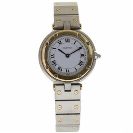 Cartier Panthere Vendome Stainless Steel & 18K Yellow Gold White Dial Quartz 29mm Womens Watch