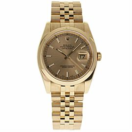Rolex Datejust 116208 Yellow Gold Champagne Dial Automatic 36mm Mens Watch