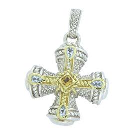 Judith Ripka 925 Sterling Silver 18K Yellow Gold Citrine Aquamarine Diamond Maltese Cross Enhancer