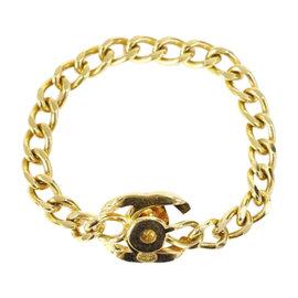 Chanel Gold Tone Metal Coco Mark Turnlock Chain Bracelet
