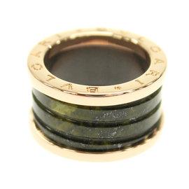 Bulgari B-Zero1 18K Pink Gold Bowenite Green Bands Ring Size 5.75