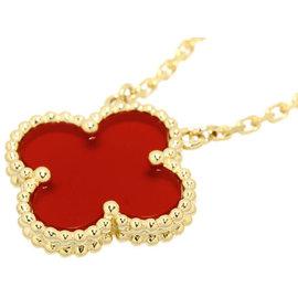 Van Cleef & Arpels Alhambra 18K Yellow Gold Carnelian Pendant Necklace