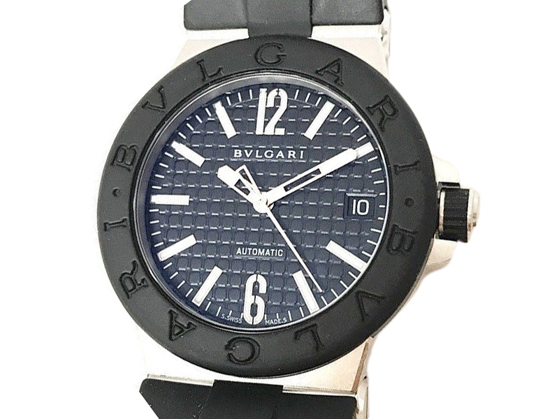 """Image of """"Bulgari Diagono Dg35Sv Stainless Steel & Rubber Black Dial Automatic"""""""
