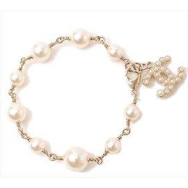 Chanel Coco Mark Logo Gold Tone Faux Pearl Bracelet